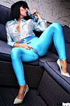 Sexy High Heels presents Francesca Felucci in blue ultratight ouvert leggings and high heels